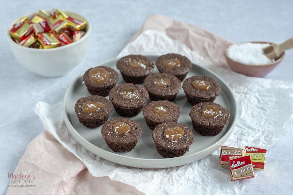 Caramel Brownie Muffins mit Halter Caramel - Marlenes sweet things